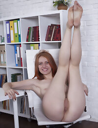 Ginger girl showing off